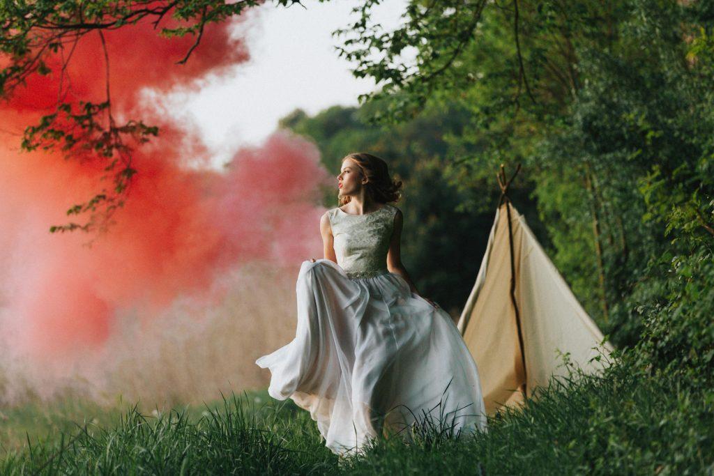 Fashion style wedding photography, runaway bride Boho wedding photosession